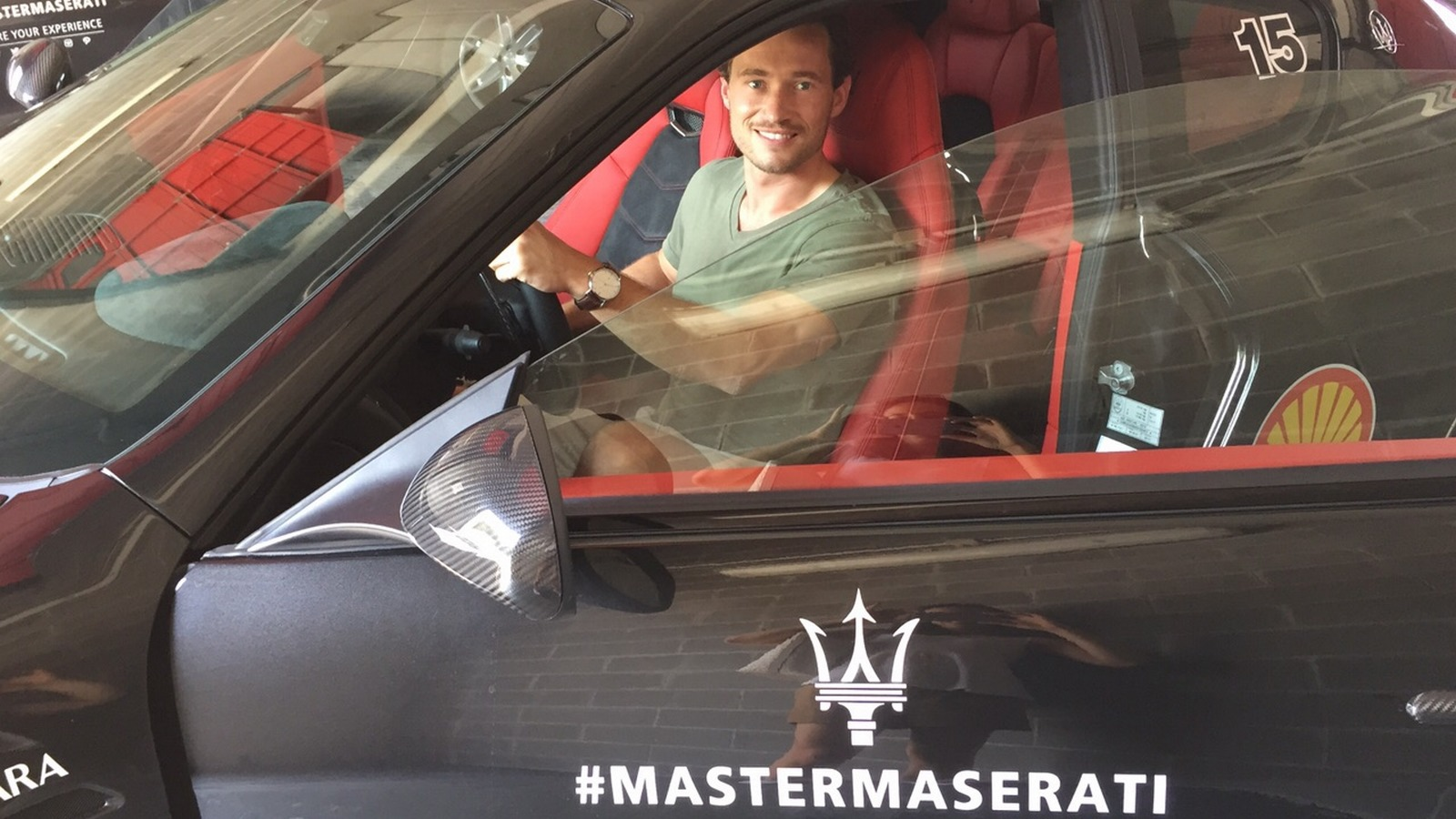 SPG member James inside a Maserati for a test drive