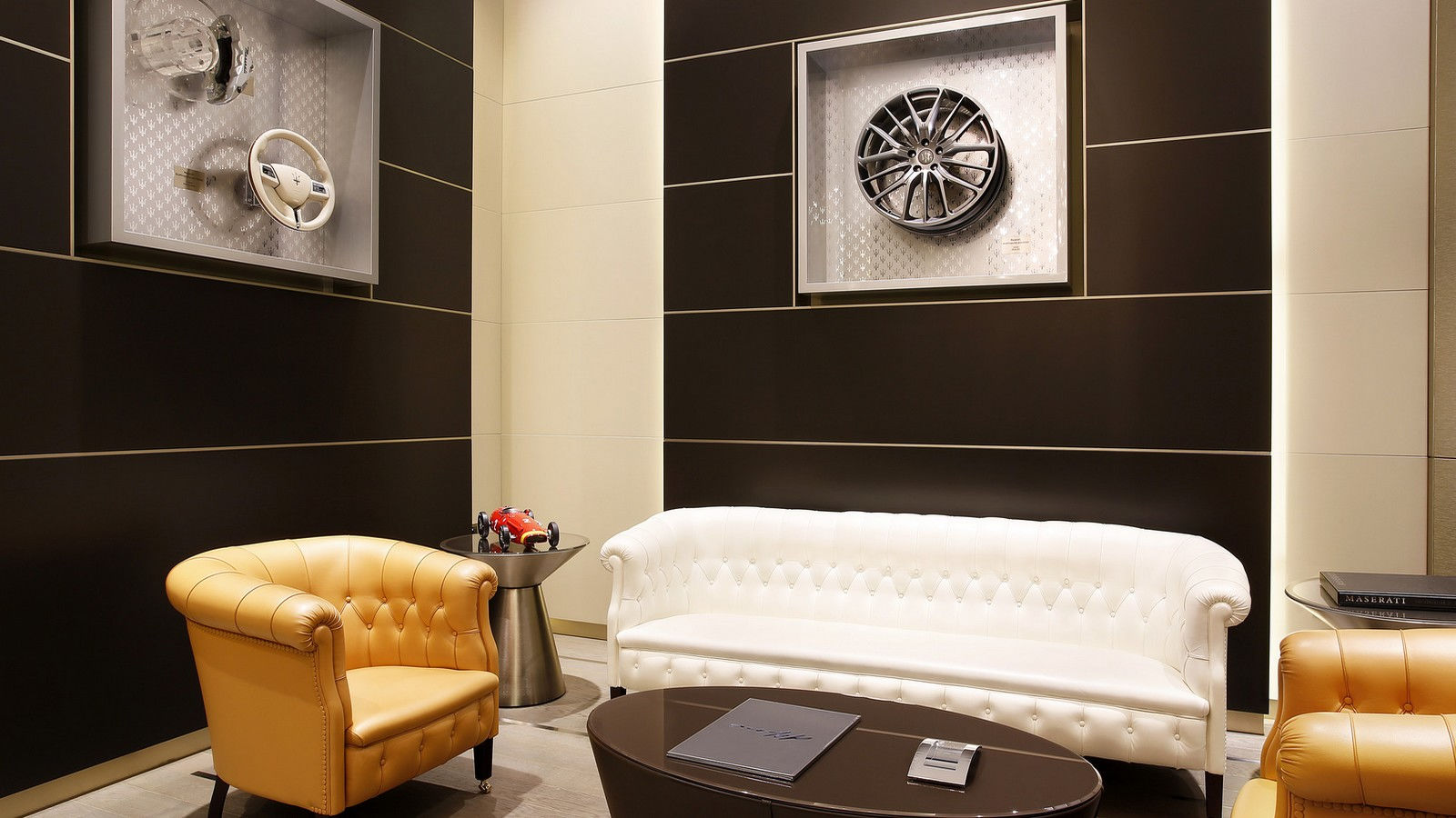 Maserati wheel display in Cigar room